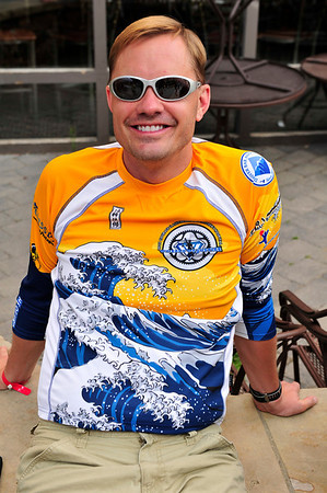Walt Hester | Trail Gazette<br /> Waves of donations crash across the Wheels of Justice jerseys. The team regularly leads fund raising for Childrens Hospital, this year with over $200,000.
