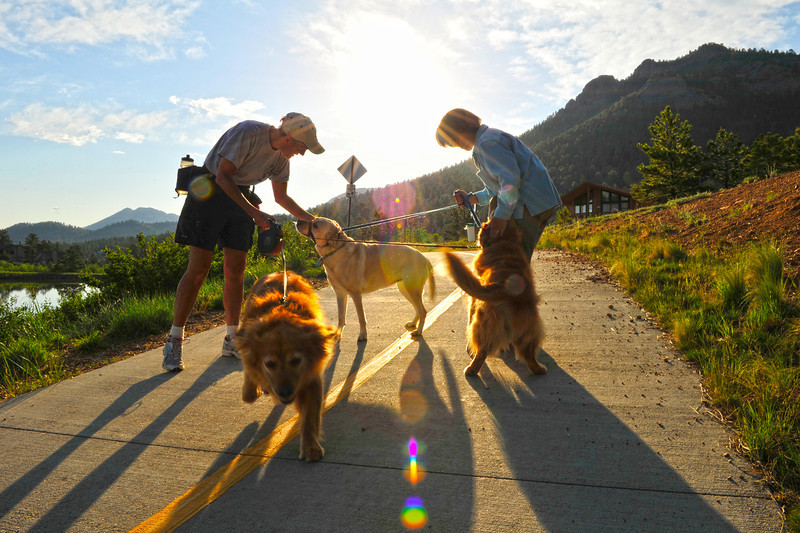 Walt Hester | Trail Gazette<br /> Dogwalkers and their fuzzy companions meet and greet along Lakeshore Drive on Wednesday morning.