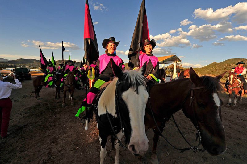 Walt Hester | Trail Gazette<br /> Tiffany Wilks, 17, of Broomfield and Sarh Safadi, 17, of Westminster await their turn in the arena on Friday. The Westernairs are divided into three divisions, Red, white and Blue, with the Red Division, who performed in Estes Park this weekend, being the most expirienced.
