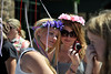 Walt Hester | Trail Gazette<br /> Amber Fox, left, and Ginny Elliot, 14, both of Timnath, Colo., review their Scandinavian summer look at the Midsummer Festival in Bond Park on Saturday. The two-day event offered visitors plenty of opportunities to dress or eat like people of the Midnight Sun.