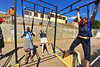 "Walt Hester | Trail Gazette<br /> AThletes perform ""scaled"" versions of Saturday's second workout. Athletes were divided into different groups with athletes competing against those with similar fitness."