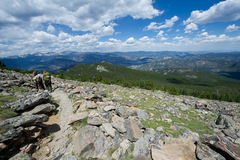 Walt Hester | Trail Gazette<br /> The Estes Valley vista spreads out for hikers on the northern slope of Twin Sisters. Along with the peaks of the Divide and Longs Peak, the Twin Sisters are among the most recognizable peaks around Estes Park.