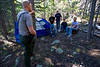 Walt Hester | Trail Gazette<br /> Law enforcment ranger Brennon Shaughnessy informs a group of young men that they are camped illegally on Saturday. Most of what he law enforcment rangers see is illegal camping, illegal fire rings, gathering fire wood and the like, though they are called in on search and rescue operations when needed.