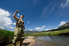 Walt Hester | Trail Gazette<br /> Kevin Fricke of Denver casts his line in the Big Thompson River in Moraine Park on Wednesday. While storms threatened early in the day, sunshine prevailed.