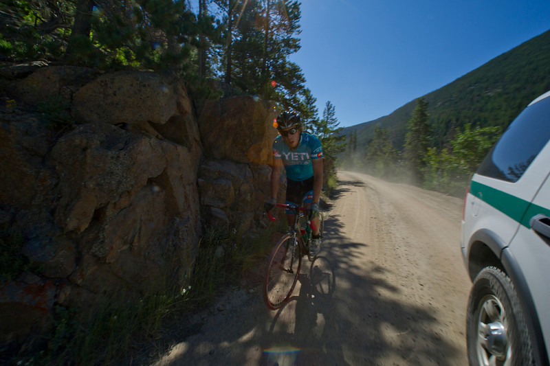 Walt Hester | Trail Gazette<br /> A road cyclist makes the long, hard, steep climb up the Old Fall River Road on Saturday. It's unusual to see road bikes on the steep dirt road.