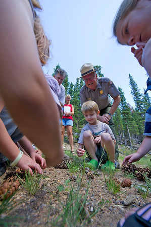 Walt Hester | Trail Gazette<br /> Interperative ranger Don Irwin helps children identify pine cones at Hidden Valley, home of the Junior Ranger Program at Rocky Mountain National Park. Irwin's entusiasm showed in his face as he talked to children and grown-ups alike.