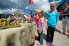 Walt Hester   Trail Gazette<br /> From left, Lindsay, Kristen and Lauren Young of St. Louis, Mo. study models of the Lewis and Clark Expodition on Saturday. Children had opportunities to learn as well as play at the Heritage Festival.