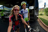Walt Hester | Trail Gazette<br /> Texas state women's road champion Amy Brown of Houston poses with Liquigas rider and Boulder resident, Ted King before King's ride on Monday. Riders of all levels flocked to the prologue for the chance to hang out with the very best of the sport.