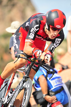 Walt Hester | Trail Gazette<br /> US cycling hero Big George Hincapie prepares for the steep descent out of the Garden of the Gods during Monday's prologue. Rider reached speeds of nearly 60 miles per hour on the short, steep hills west of Colorado Springs.