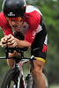 Walt Hester | Trail Gazette<br /> A big gun in American road cycling, Levi Leipheimer, is a human bullet around the Garden of the Gods on Monday. While Leipheimer was 8 seconds off the lead on Monday, he grabbed the yellow jersey on Tuesday's stage to Mt. Crested Butte.