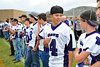 Walt Hester | Trail Gazette<br /> Estes Park High School athlete Kent White talks with a team mate during the school's Meet the Bobcats Night. The school introduced each of the fall sports teams, then opened up the school so parents could meet the teachers, as well.