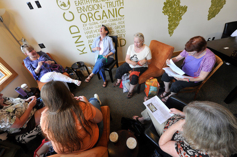 Walt Hester | Trail Gazette<br /> Women laugh and knit in a coffee shop in Estes Park on Thursday. Knitting circles are growing in popularity as much for socialization as for the craft, itself.