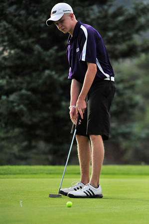 Walt Hester | Trail Gazette<br /> Bobcats' golfer Dylan Jirsa putts early during the Thursday Estes Park Invitational Tournament. Jirsa led all golfers with a round of 71, while the 'Cats placed 5th with a total of 242.