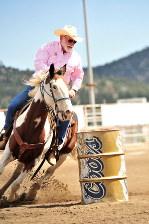 Walt Hester | Trail Gazette<br /> Rooftop Rodeo president Howell Wright tries has hand and horse at barrel racing on Monday. Wright and the rodeo committee helped run the races, and hope to make them an annual event.