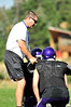 Walt Hester | Trail Gazette<br /> Estes Park Bobcats' head footbal coach Steve Urban demonstrates what he expects during form drills in August. The coach will regroup and prepair for the 'Cats' upcoming clash with rival Lyons this Friday.
