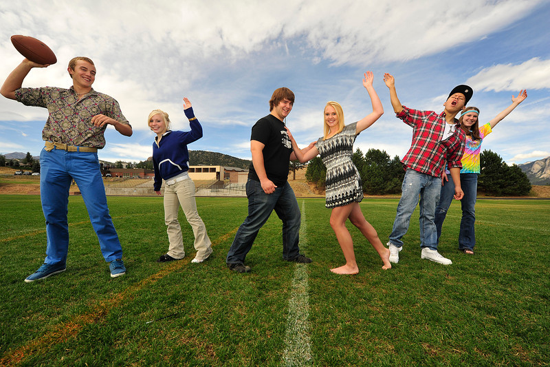 Walt Hester | Trail Gazette<br /> Estes Park High School's Homecoming royalty candidates have some fun before the big-game weekend. From left, the candidates are TJ Hall, Hanna Steadman, Ben Addison, Carmen Laing, Kent White and Faith Weibel.