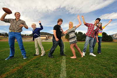 Walt Hester | Trail Gazette Estes Park High School's Homecoming royalty candidates have some fun before the big-game weekend. From left, the candidates are TJ Hall, Hanna Steadman, Ben Addison, Carmen Laing, Kent White and Faith Weibel.