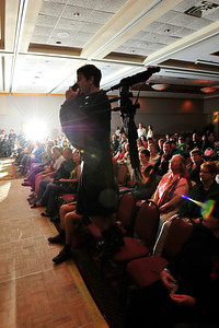 Walt Hester | Trail Gazette Drew, singer and piper for the band Brother, steps out into the crowd during Saturday night's concerts at the Estes Park Conference Center, prompting camera flashes and cheers.