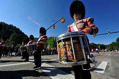 Walt Hester | Trail Gazette Drummers of the Scots Guard thrill parade-goers on Saturday. The British regemin traces it's beginnings to 1642 and was the personal guard for King Charles I of England and Scotland.