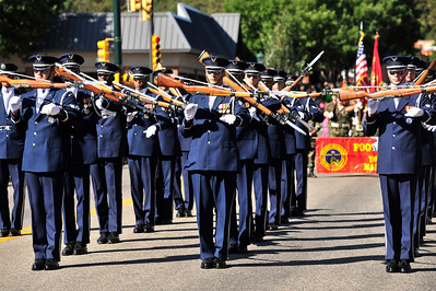 Walt Hester | Trail Gazette The US Air Force's Presicion Drill Team performs during Saturday's parade on Elkhorn Avenue. The team performed throughout the weekend and demonstrated why the are considered the finest silent drill team on earth.