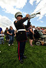 "Walt Hester | Trail Gazette<br /> A US Marine bugler plays an echoing ""TAPS"" on Sunday, September 11. The opening ceremonies on Sunday honored the tenth anniversary of the attacks on the World Trade Center, Pentagon and Shanksville."