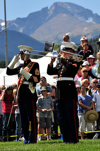 Walt Hester | Trail Gazette The Marine Corps Marching Band from Twentynine Palms, Calif. play the official opening of the parade grounds on Sunday. The Marine Corps band has come top the festival for the last eleven years.