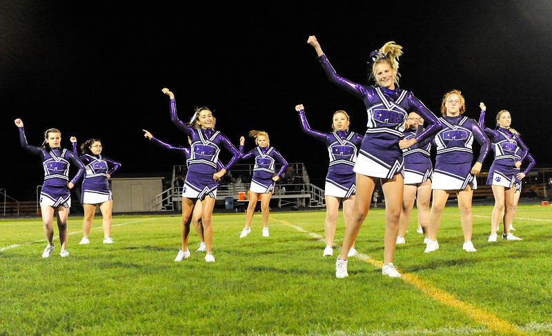 Walt Hester | Trail Gazette<br /> The Estes Park High School cheerleaders perform their dance routine for the first home halftime of the season on Friday.