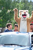 Walt Hester | Trail Gazette<br /> Estes Park High School's Bobcat waves to the home crowd during Thursday's Homecoming Parade.