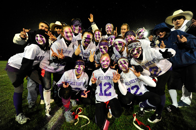Walt Hester | Trail Gazette<br /> The colorful senior girls celebrate their lopsided victory over the junior girls on Wednesday, Sept. 14.