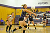 Walt Hester | Trail Gazette<br /> Ladycats' captain Jesse O'Dell bumps up a hit against Berthoud on Tuesday. O'Dell found herself part of every play against the Spartans as the Estes Park girls were short one setter due to illness.