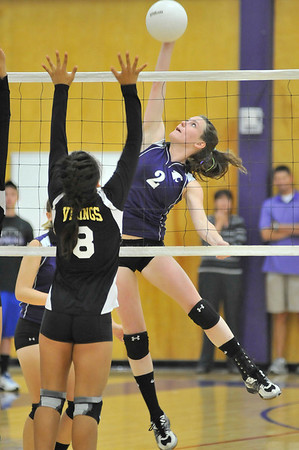 Walt Hester   Trail Gazette<br /> Faith Weible hits in the first game on Thursday against the Valley Vikings. The Ladycats dropped three straight games in the match, taking their record to 1-6.
