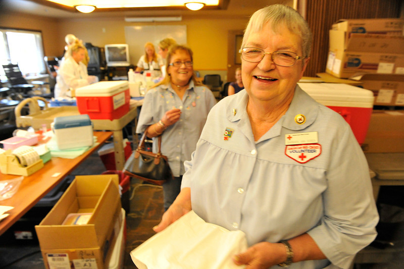 Walt Hester | Trail Gazette<br /> Barb Van Dorn enjoys her last day running the Estes Park blood drive on Monday. Van Dorn has organized the drive in Estes Park for 15 years.