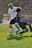 Walt Hester | Trail Gazette<br /> Estes Park's Andrew Cirone uses some fancy footwork in the first half on his way toward the games only goal. The Bobcats defeated the visiting Frontier Acadamy Wolverines 1-0, keeping Estes Park undefeated.