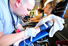 Walt Hester | Trail Gazette<br /> Don Boling of the Poudre Valley Medical Center sticks Eagle Rock's Chelsea Morris at Monday's Red Cross Blood Drive at the Estes Park Medical Center. The blood drive will return in January.
