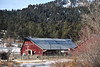 Walt Hester | Trail Gazette<br /> The famous barn of the Elkhorn Lodge sits at the base of snow and tree-covered hills along Fall River on Wednesday. Attendees of Wednesday nights twon hall meeting about the property reported a standing-room-only crowd.