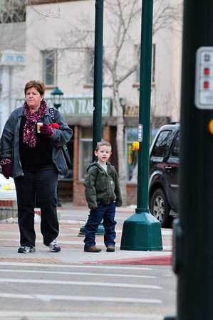 Walt Hester | Trail-Gazette<br /> Eli James, 4, right, of Thornton, helps show Vada Pelton of Phoenix around Estes Park on Tuesday. January is a quiet time in Estes Park, great for wondering around without quite so many people.
