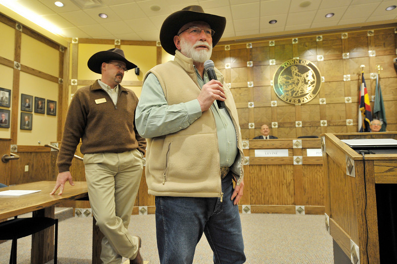 Walt Hester | Trail-Gazette<br /> Rooftop Rodeo president Howell Wright thanks the town for recognition and the rodeo committee for their hard work at the Estes Park Town Board meeting. The town recognised the committee for the awards received this year, include the Pro Rodeo Cowboy Association's Best Small Rodeo Committee of the year for the third year running.
