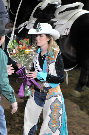 Walt Hester | Trail-Gazette<br /> Estes Park's own Kellsie Purdy receives flowers and the crown of Miss Rodeo Colorado on Sunday night at the National Western Stock Show Rodeo. Purdy is a former Rooftop Rodeo Queen as well as an Estes Park High School graduate.