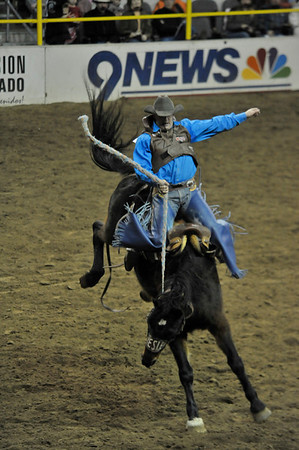 Walt Hester | Trail-Gazette<br /> A bareback rider hangs on during Sunday nights edition of the National Western Stock Show Rodeo.