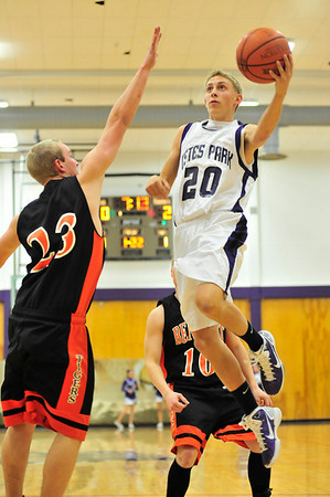 Walt Hester | Trail-Gazette<br /> Andrew Cirone lays in the ball agains Bennett on Friday. The loss against the Tigers, 46-43, is part of a for-game skid, including a 58-43 loss on Saturday to Peak to Peak.