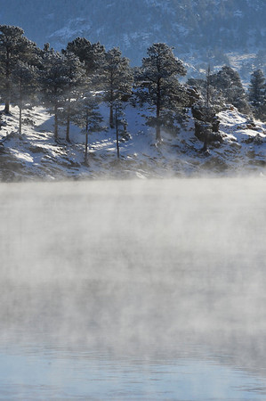 Walt Hester | Trail-Gazette<br /> Steam rises off of a relatively warm Mary's Lake on Monday morning. The air temperature was reported to be as low as 10-below zero.