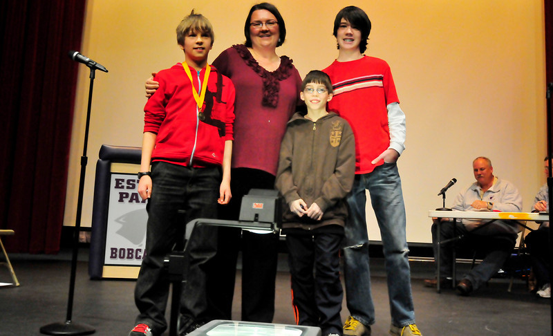 Walt Hester | Trail-Gazette<br /> Winners of the Estes Park Middle School National Geographic Geography Beestand proudly on Friday after the competition. From left, 1st place: Brad Harris, 13, 2nd Place: Luke Soguerro, 11, and 3rd place: Alex Willis, 13.