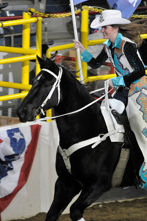 Walt Hester | Trail-Gazette<br /> Kellsie Purdy proudly performs part of her duty at the Stock Show Rodeo on Sunday Night. It was while riding the Kellsie suffered an accident that nearly ended her bid to be Miss Rodeo Colorado.