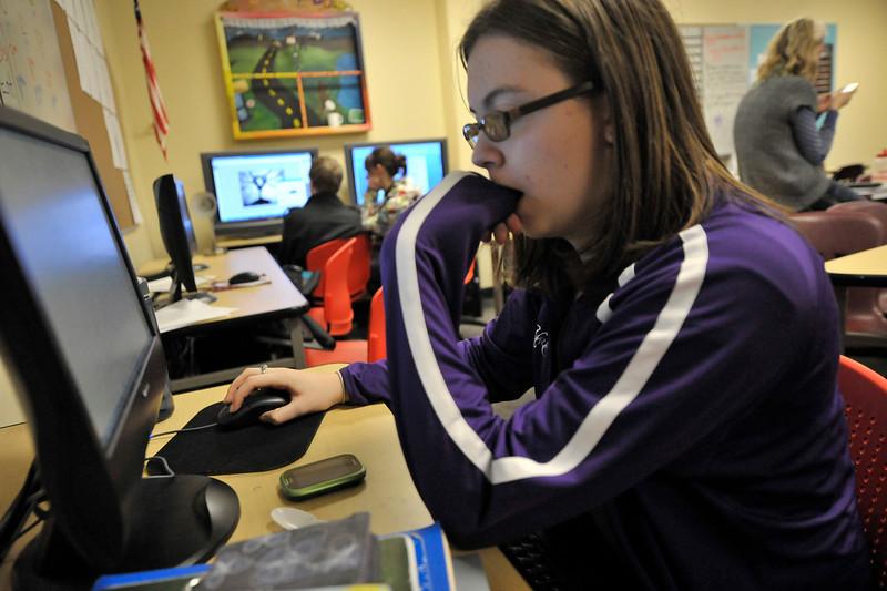 Walt Hester | Trail-Gazette<br /> Lindsi Durrett, 16, edits a story for the high school newspaper on Wednesday.