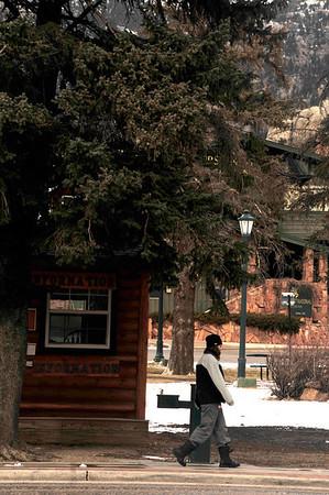 Walt Hester | Trail-Gazette<br /> A pedestrian walks past Bond Park on Wednesday.