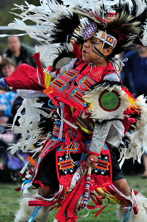 Walt Hester | Trail Gazette<br /> Kyce Iron, 10, of Fort Collins dances for visitors to the annual Elk Fest in Bond Park on Saturday. The annual event draws visitors to see demonstrations, music and the elk rut.
