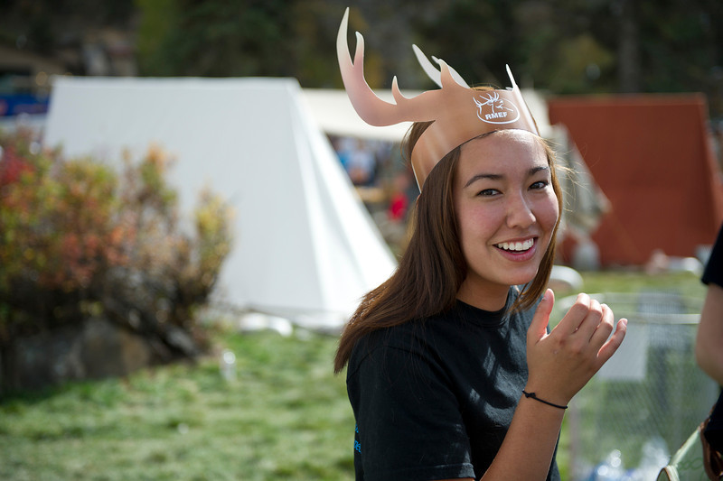 Walt Hester | Trail Gazette<br /> Maryanne Flasik of Fort Collins dons her antlers on Sunday. Flasik and her friends from the Colorado State University Pre-Vet program came up for the educational as well as fashion opportunities.