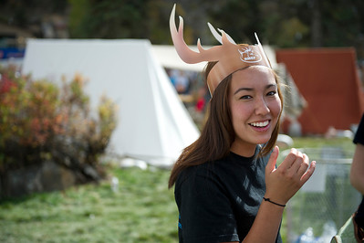 Walt Hester | Trail Gazette Maryanne Flasik of Fort Collins dons her antlers on Sunday. Flasik and her friends from the Colorado State University Pre-Vet program came up for the educational as well as fashion opportunities.