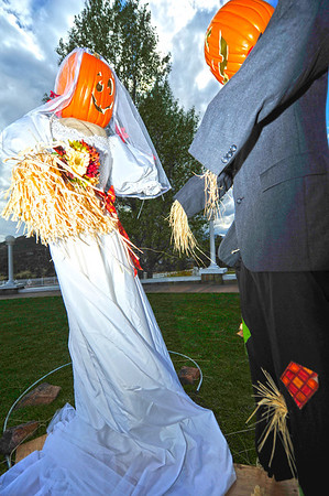 Walt Hester | Trail Gazette<br /> A scarcrow couple weds in front of the Stanley Hotel on Tuesday. The couple is part of Estes Park's Scarecrow Festival which goes on throughout October.
