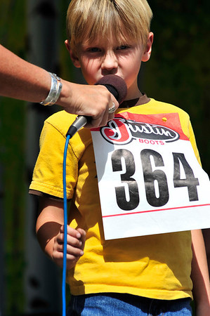 Walt Hester | Trail Gazette<br /> Noah Kucera, 6, of Fort Collins competes in the Jr. Youth division of the elk calling contest on Sunday. The contest has occasionally drawn elk into the festival.